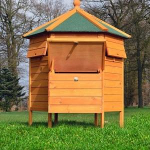 Schöner Hühnerstall Zooprimus - Pavillon. Das Dach des Legenests ist aufklappbar.